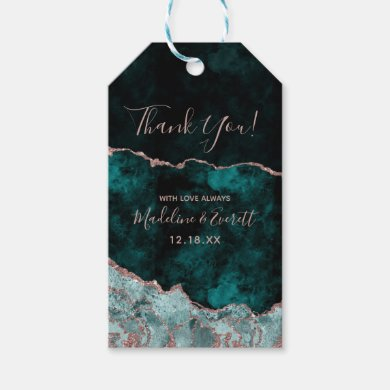 Peacock Green & Rose Gold Foil Agate Thank You Gift Tags