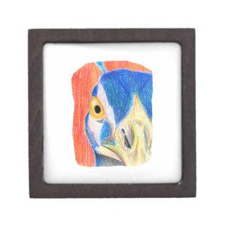 Peacock head colored pencil drawing sketch keepsake box