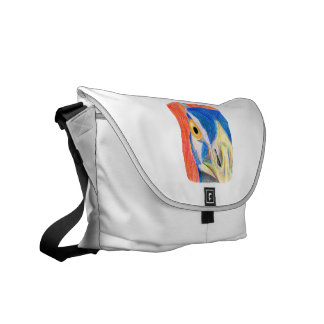 Peacock head colored pencil drawing sketch messenger bag