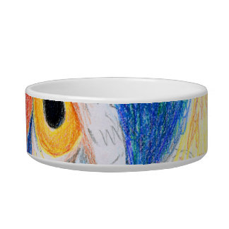 Peacock head colored pencil drawing sketch cat food bowls