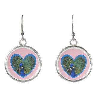 Peacock Heart Earrings