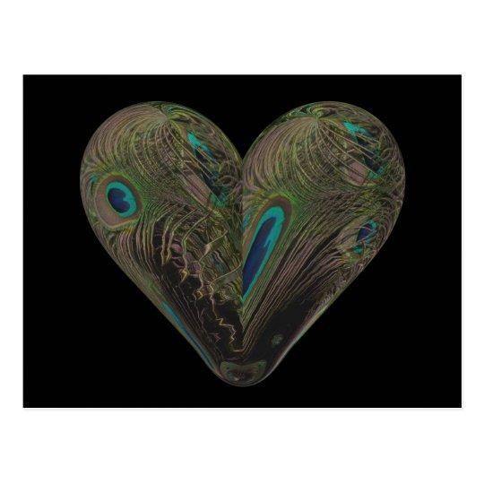 peacock heart postcard