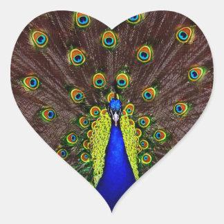 Peacock Heart Sticker