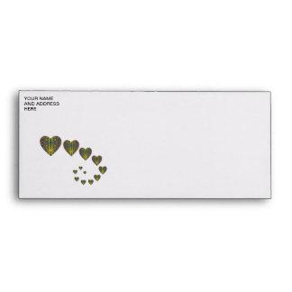 Peacock heart trails envelopes