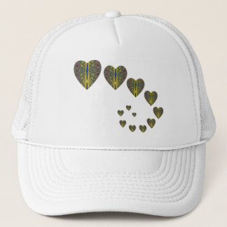 Peacock heart trails trucker hat