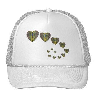 Peacock heart trails trucker hat