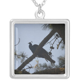 peacock in a tree personalized necklace