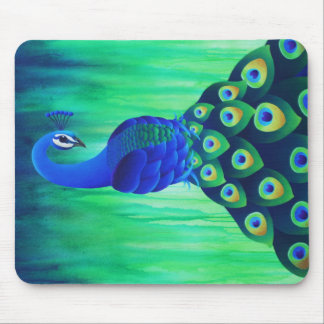 Peacock in Blue and Green Mousepad
