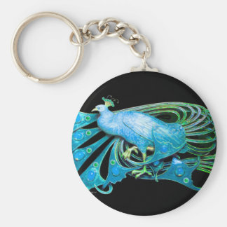 PEACOCK IN BLUE TURQUASE  AND BLACK KEYCHAIN