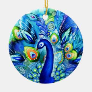Peacock in Full Bloom Ceramic Ornament