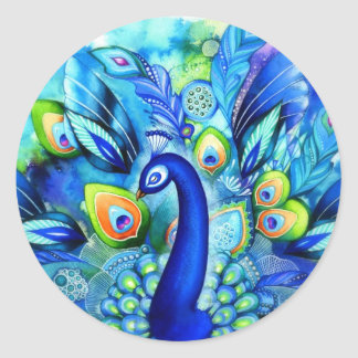 Peacock in Full Bloom Classic Round Sticker
