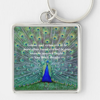 Peacock in Full Plumage Display Photography Keychain