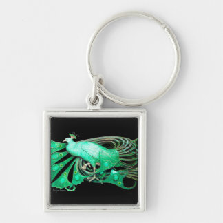 PEACOCK IN  GREEN AND BLACK KEYCHAIN