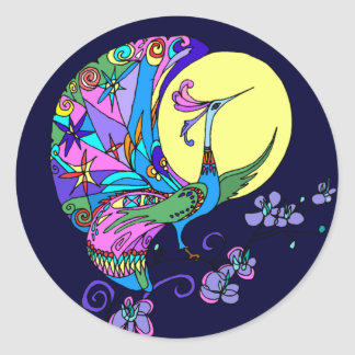 Peacock in Moonlight Classic Round Sticker