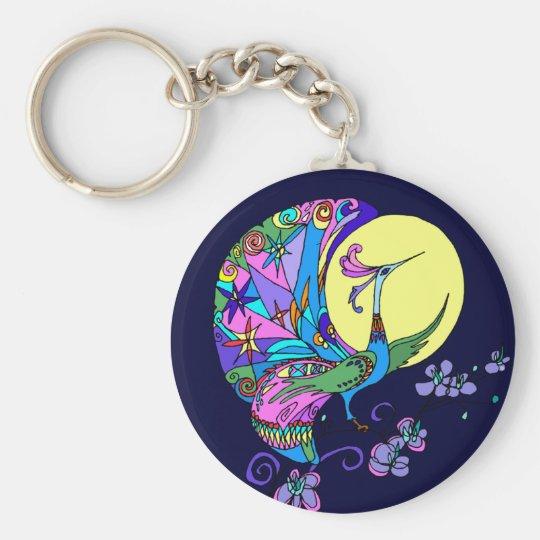 Peacock in Moonlight Keychain