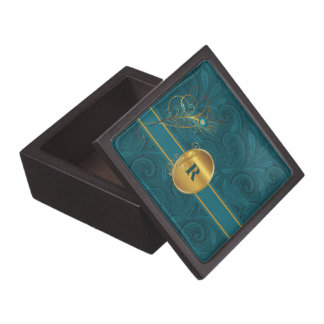 Peacock in Teal and Gold Monogrammed Gift Box