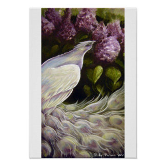 Peacock in the Lilacs Poster