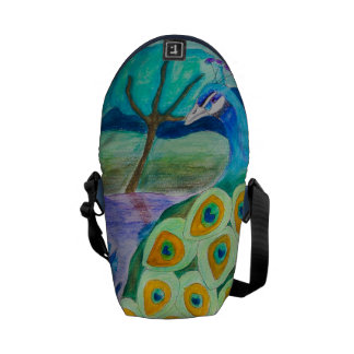 Peacock In The Night Drawing Messenger Bag
