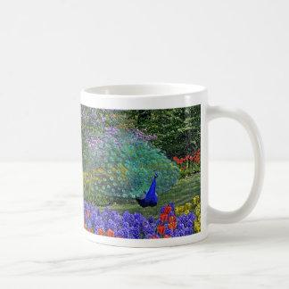 Peacock in Tulip Garden Mug