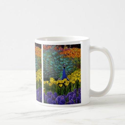Peacock in Tulips Mug