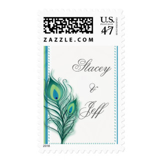 Peacock inspired wedding stamps