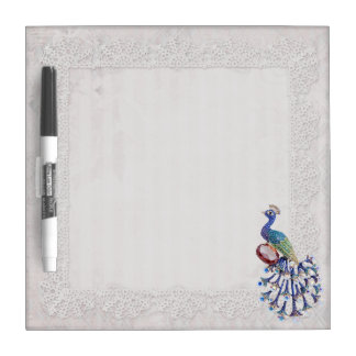 Peacock Jewel Lace Print Dry Erase Board