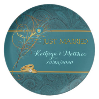 Peacock Just Married Teal and Gold Wedding Dinner Plate