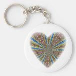 Peacock Kaleidoscope Heart Key Chains
