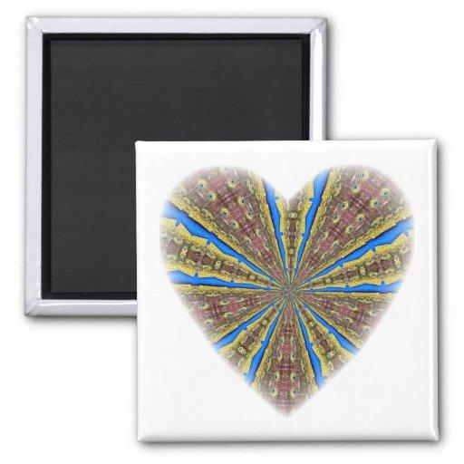 Peacock Kaleidoscope Heart Magnet