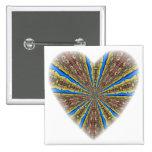 Peacock Kaleidoscope Heart Pinback Buttons