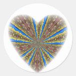 Peacock Kaleidoscope Heart Round Sticker