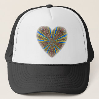 Peacock Kaleidoscope Heart Trucker Hat