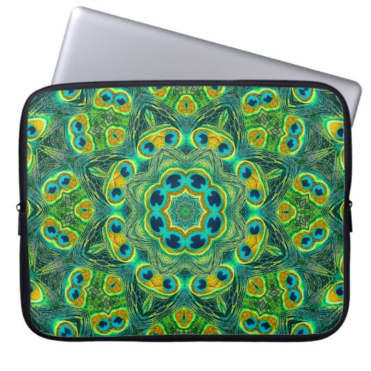 PEACOCK KALEIDOSCOPE Laptop Sleeve