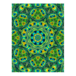 PEACOCK KALEIDOSCOPE POSTCARD