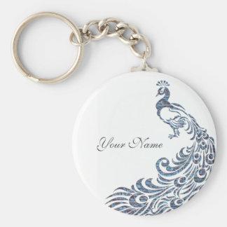 Peacock Basic Round Button Keychain