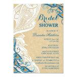 Peacock Lace Elegance 2 Bridal Shower Card