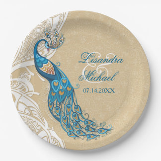 Peacock Lace Elegance 2 Custom Paper Plates