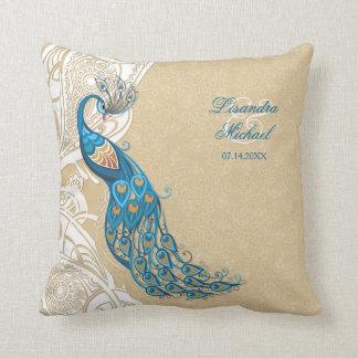 Peacock Lace Elegance 2 Wedding Keepsake Pillow