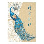 Peacock Lace Elegance 2 Wedding RSVP Card