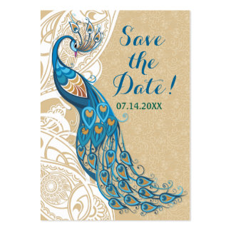 Peacock Lace Elegance 2 Wedding Save The Date Large Business Card