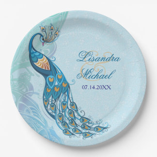 Peacock Lace Elegance Custom Paper Plates