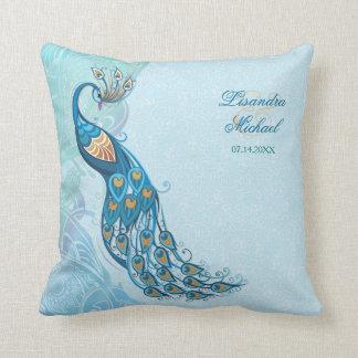 Peacock Lace Elegance Wedding Keepsake Pillow