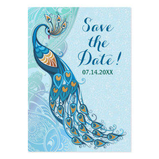 Peacock Lace Elegance Wedding Save The Date Large Business Card