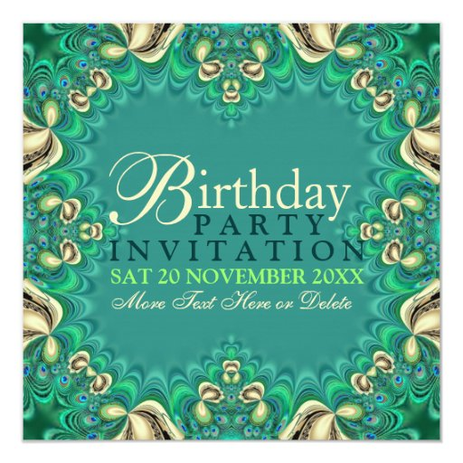 Peacock Lace Elegant Birthday Party Invitations