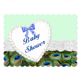 peacock lace heart baby shower invitation