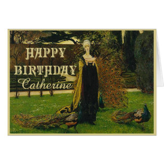 Peacock Lady Birthday Card