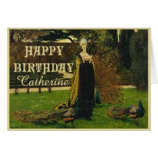 Peacock Lady Birthday Card