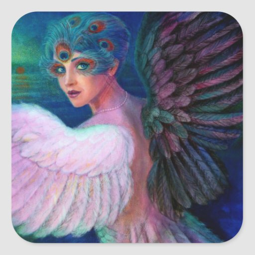 Peacock Lady's Wings of Duality Square Sticker