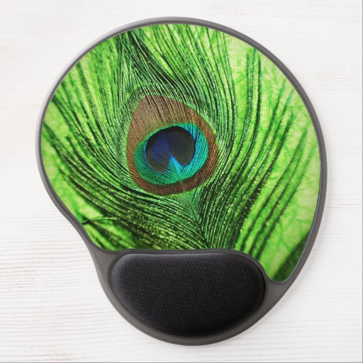 Peacock Lime Green Gel Mouse Pads