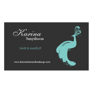 Peacock Logo Hair Stylist/Cosmetologist/Fashion Double-Sided Standard Business Cards (Pack Of 100)
